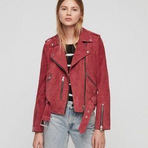 Balfern Suede Biker Jacket In Red